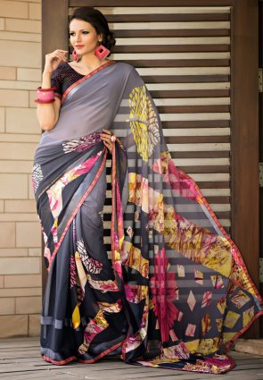 Diffusion Majesty Gray And Yellow Printed Saree