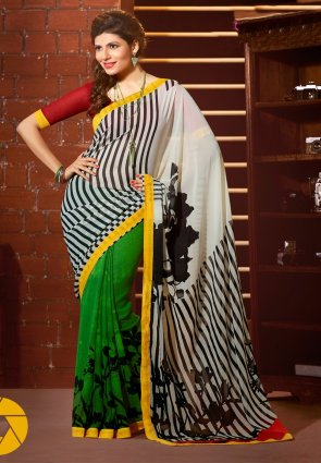 Diffusion Majesty Green And Off White Printed Saree