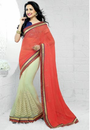 Diffusion Majesty Ivory And Tomato Embroidered Saree