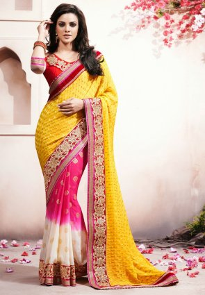 Diffusion Majesty Off White And  Yellow Embroidered Saree