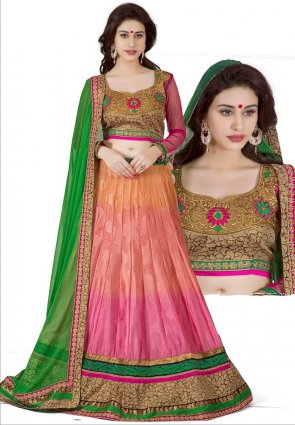 Diffusion Majesty Orange And Pink Lehenga Choli