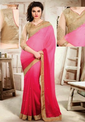 Diffusion Majesty Pink Embroidered Saree