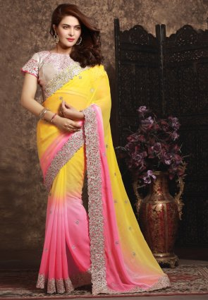 Diffusion Majesty Pink And Yellow Embroidered Saree