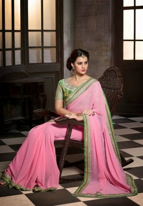 Diffusion Majesty Rose Pink Embroidered Saree