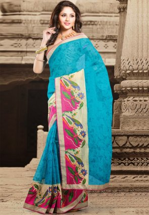 Diffusion Marvelous Aqua Blue Embroidered Saree