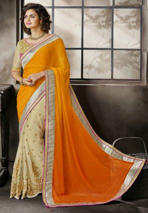 Diffusion Marvelous Beige And Orange Embroidered Saree