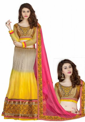 Diffusion Marvelous Beige And Yellow Lehenga Choli