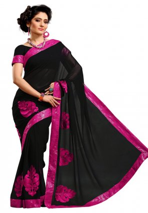 Diffusion Marvelous Black Embroidered Saree