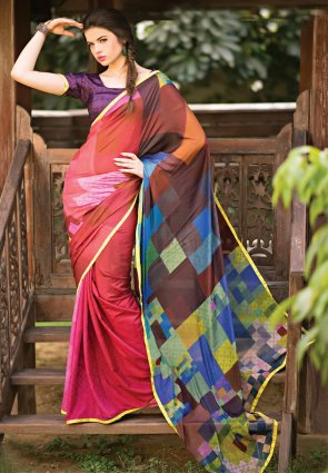 Diffusion Marvelous Brown And Violet Printed Saree