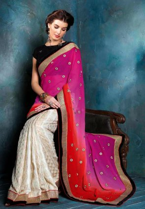 Diffusion Marvelous Buttercream And Red Embroidered Saree