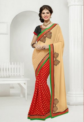 Diffusion Marvelous Cream And Red Embroidered Saree