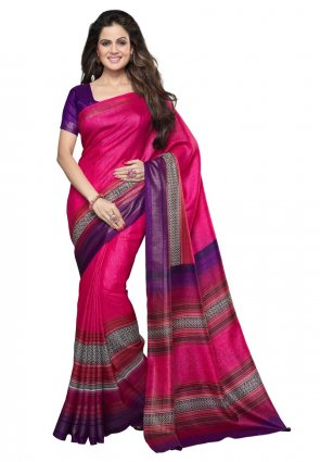Diffusion Marvelous Deep Purple And Pink Printed Saree