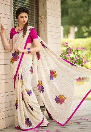 Diffusion Marvelous Fuchsia And Off White Printed Saree