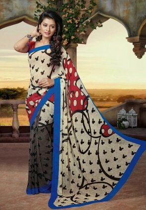Diffusion Marvelous Gray And Ivory Embroidered Saree
