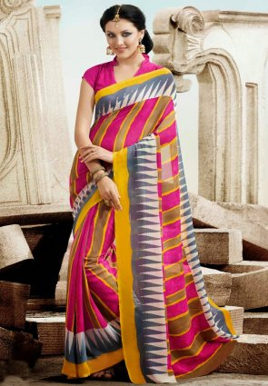Diffusion Marvelous Gray And Yellow Printed Saree