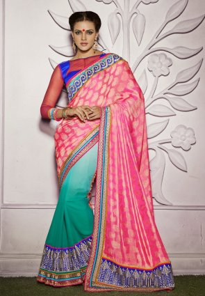 Diffusion Marvelous Greenish Blue  And  Pink Embroidered Saree