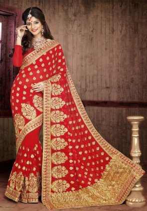 Diffusion Marvelous Maroon Embroidered Saree