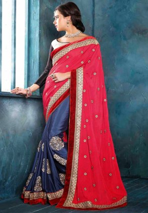 Diffusion Marvelous Navy Blue And Pink Embroidered Saree