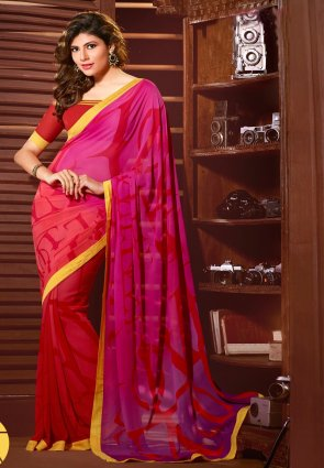 Diffusion Marvelous Pink And Red Printed Saree