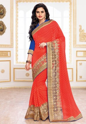 Diffusion Marvelous Red Embroidered Saree
