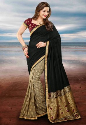 Diffusion Melodic Beige And Black Embroidered Saree