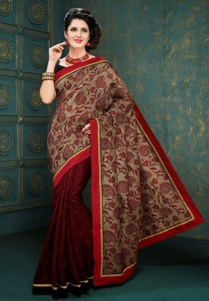 Diffusion Melodic Beige And Wine Embroidered Saree