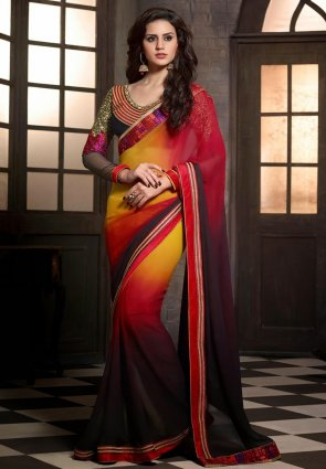Diffusion Melodic Black And  Yellow Embroidered Saree