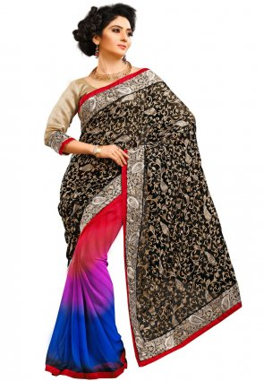 Diffusion Melodic Black And Red Embroidered Saree