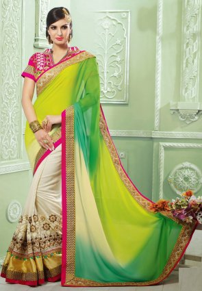 Diffusion Melodic Buttercream And Yellow Embroidered Saree