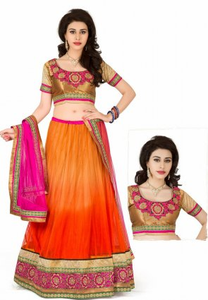Diffusion Melodic Coral And Deep Orange Lehenga Choli