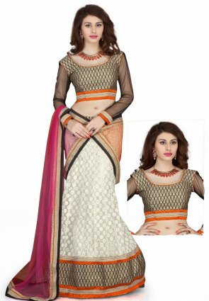 Diffusion Melodic Gray And Off White Lehenga Choli