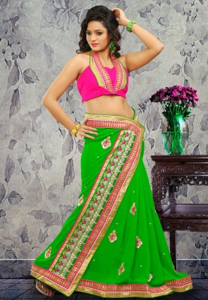 Diffusion Melodic Green Embroidered Saree