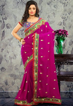 Diffusion Melodic Magenta Embroidered Saree