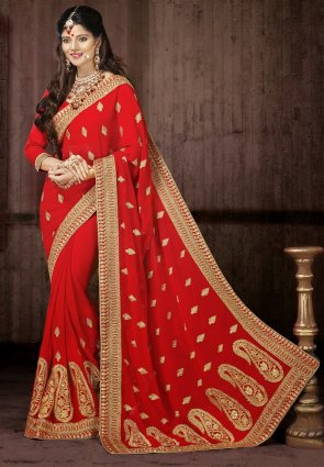 Diffusion Melodic Red Embroidered Saree