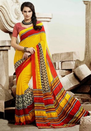Diffusion Melodic Red And Yellow Printed Saree