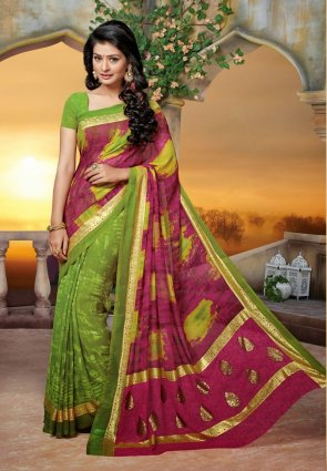 Diffusion Mesmerizing Aloe Vera Green And Magenta Embroidered Saree