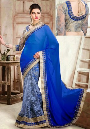 Diffusion Mesmerizing Ash Gray And Blue Embroidered Saree