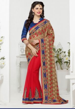 Diffusion Mesmerizing Beige And Red Embroidered Saree