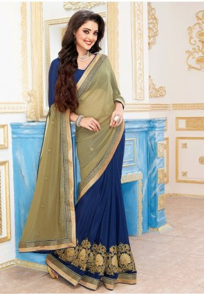 Diffusion Mesmerizing Beige And Royal Blue Embroidered Saree