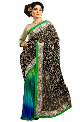 Diffusion Mesmerizing Black And Greenish Blue Embroidered Saree