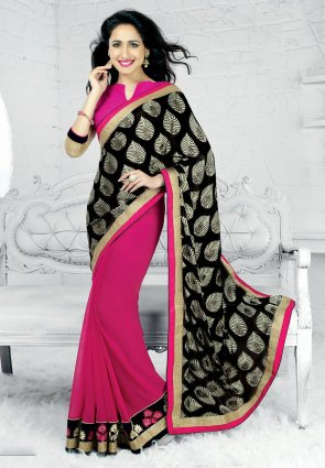 Diffusion Mesmerizing Black And Pink Embroidered Saree