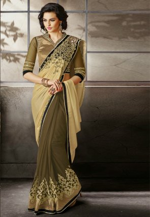 Diffusion Mesmerizing Brown And Cream Embroidered Saree