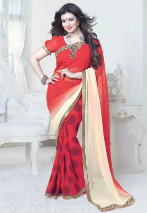 Diffusion Mesmerizing Buttercream And Red Embroidered Saree