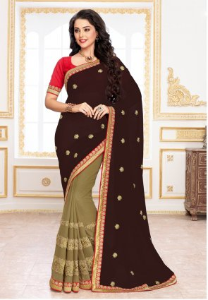 Diffusion Mesmerizing Deep Saddle Brown And Beige Embroidered Saree