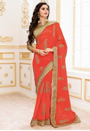 Diffusion Mesmerizing Deep Tomato Embroidered Saree