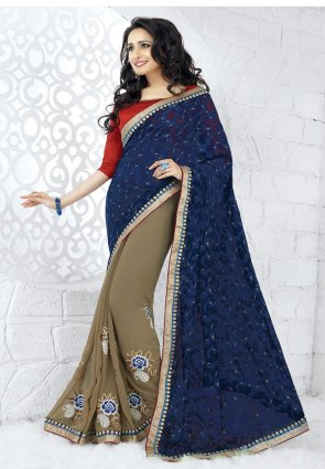 Diffusion Mesmerizing Gray And Navy Blue Embroidered Saree