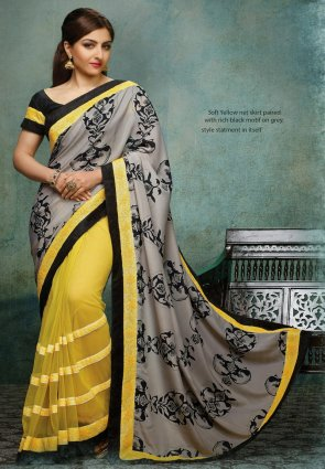 Diffusion Mesmerizing Gray And Yellow Embroidered Saree