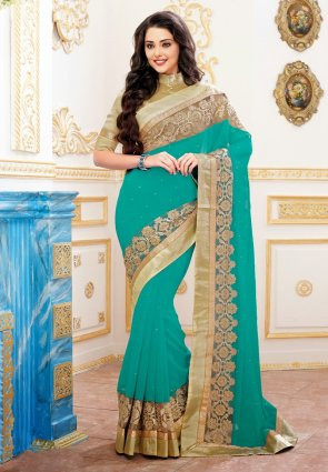Diffusion Mesmerizing Greenish Blue Embroidered Saree