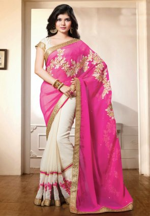 Diffusion Mesmerizing Off White And Pink Embroidered Saree