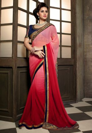 Diffusion Mesmerizing Red  And  Rose Pink Embroidered Saree